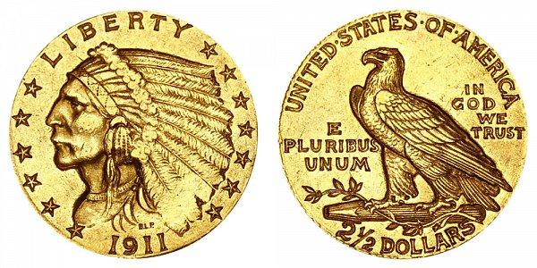 1911 Indian Head $2.50 Gold Quarter Eagle - 2 1/2 Dollars