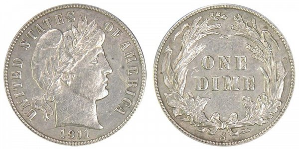 1911 S Silver Barber Dime
