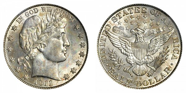 1911 S Barber Silver Half Dollar