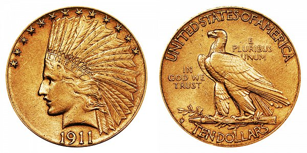 1911 S Indian Head $10 Gold Eagle - Ten Dollars
