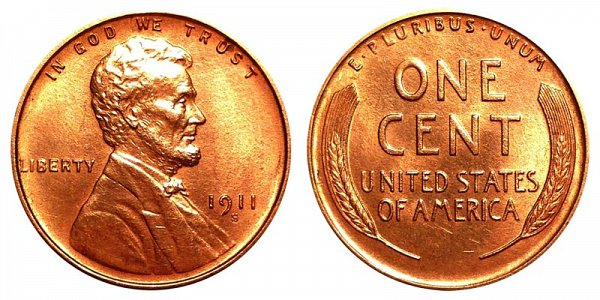 1911 S Lincoln Wheat Cent Penny