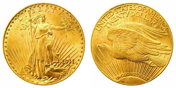1911 S Saint Gaudens $20 Gold Double Eagle - Twenty Dollars
