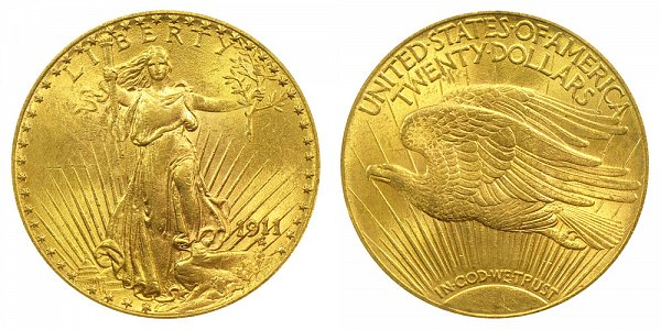 1911 Saint Gaudens $20 Gold Double Eagle - Twenty Dollars