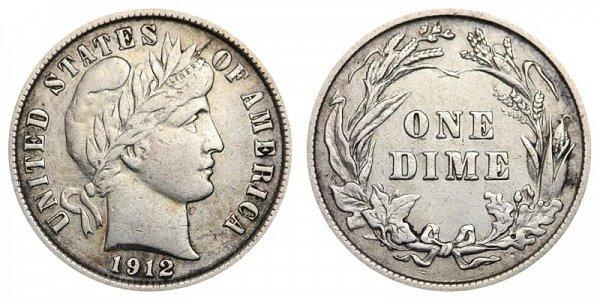 1912 Silver Barber Dime