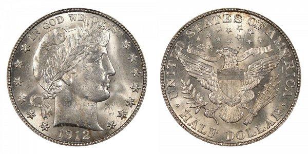 1912 Barber Silver Half Dollar