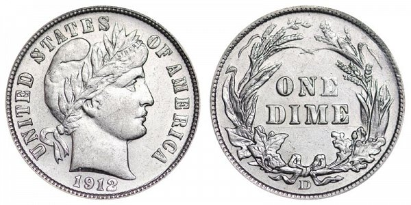 1912 D Silver Barber Dime