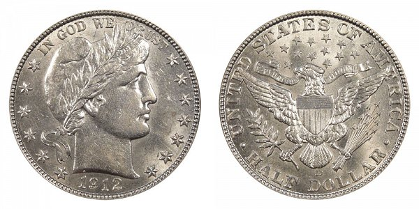 1912 D Barber Silver Half Dollar