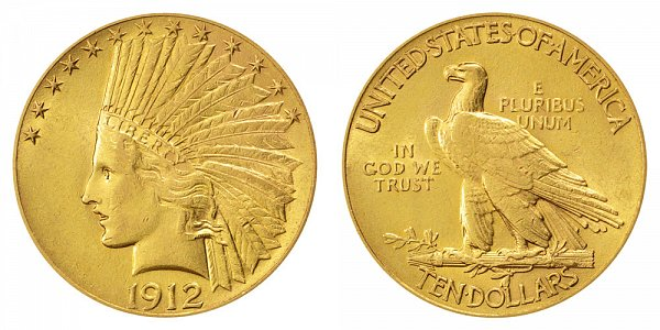 1912 Indian Head $10 Gold Eagle - Ten Dollars