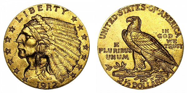 1912 Indian Head $2.50 Gold Quarter Eagle - 2 1/2 Dollars