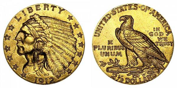 1912 Indian Head $2.50 Gold Quarter Eagle - 2 1/2 Dollars