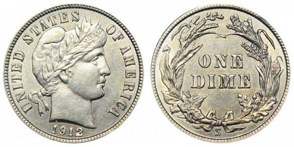 1912 S Silver Barber Dime