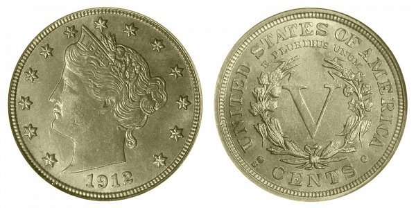 1912 S Liberty Head V Nickel