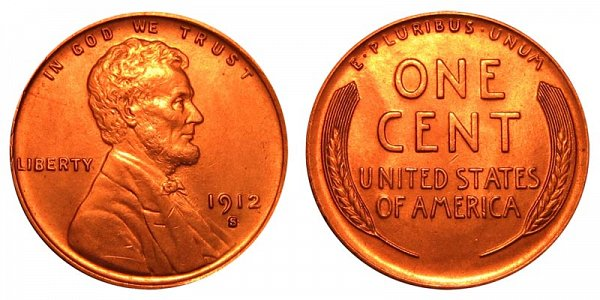 1912 S Lincoln Wheat Cent Penny