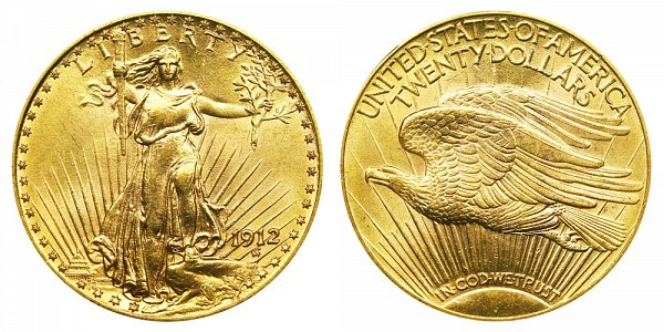 1912 Saint Gaudens $20 Gold Double Eagle - Twenty Dollars
