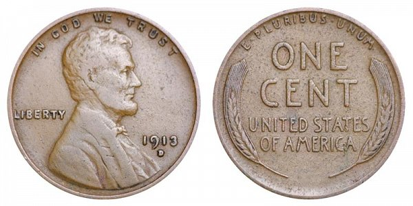 1913 D Lincoln Wheat Cent Penny