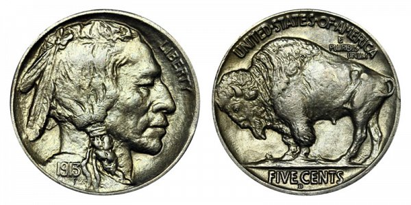 1913 D Line Type 2 Indian Head Buffalo Nickel