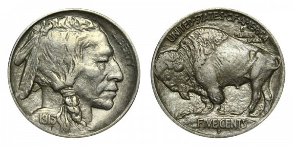 1913 D Mound Type 1 Indian Head Buffalo Nickel