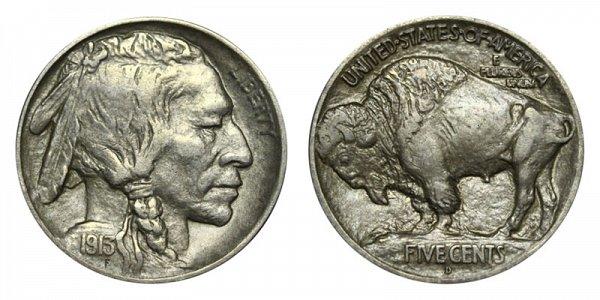 1913 D Mound Type 1 Indian Head Buffalo Nickel