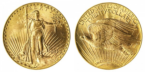 1913 D Saint Gaudens $20 Gold Double Eagle - Twenty Dollars