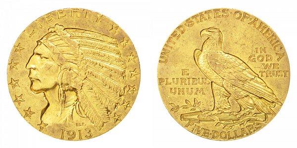 1913 Indian Head $5 Gold Half Eagle - Five Dollars