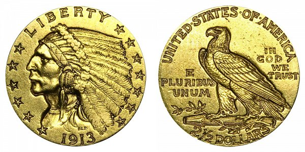 1913 Indian Head $2.50 Gold Quarter Eagle - 2 1/2 Dollars