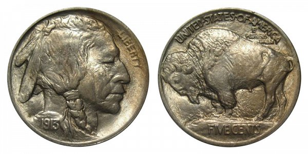 1913 Mound Type 1 Indian Head Buffalo Nickel