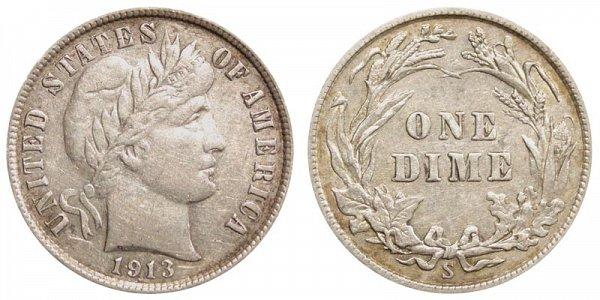 1913 S Silver Barber Dime