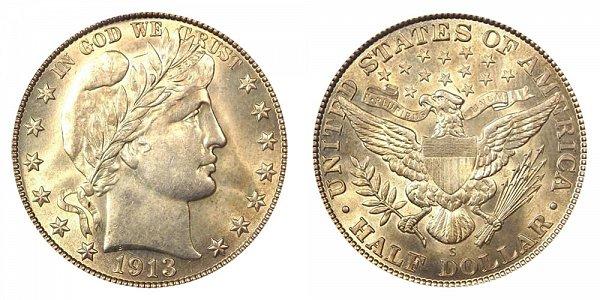 1913 S Barber Silver Half Dollar