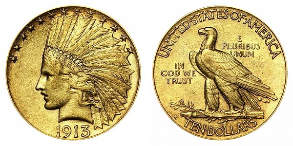 1913 S Indian Head $10 Gold Eagle - Ten Dollars