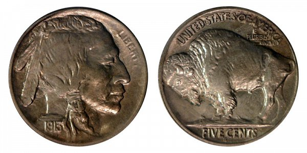 1913 S Line Type 2 Indian Head Buffalo Nickel