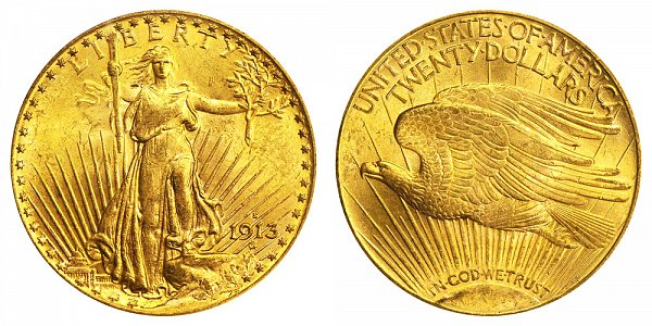 1913 S Saint Gaudens $20 Gold Double Eagle - Twenty Dollars