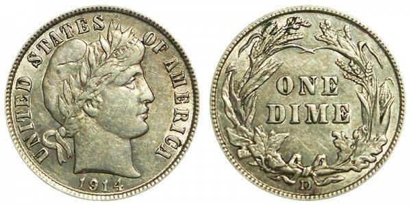 1914 D Silver Barber Dime