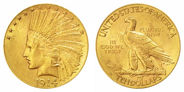 1914 D Indian Head $10 Gold Eagle - Ten Dollars