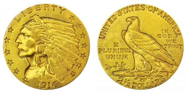1914 D Indian Head $2.50 Gold Quarter Eagle - 2 1/2 Dollars