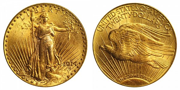 1914 D Saint Gaudens $20 Gold Double Eagle - Twenty Dollars