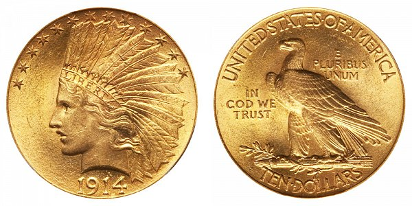 1914 Indian Head $10 Gold Eagle - Ten Dollars