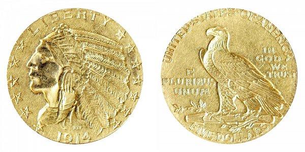 1914 Indian Head $5 Gold Half Eagle - Five Dollars