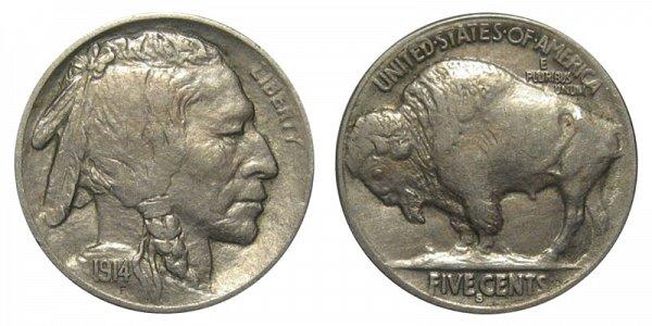 1914 S Indian Head Buffalo Nickel