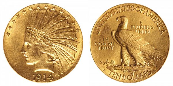 1914 S Indian Head $10 Gold Eagle - Ten Dollars
