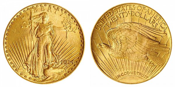 1914 Saint Gaudens $20 Gold Double Eagle - Twenty Dollars
