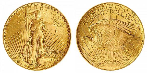 1914 Saint Gaudens $20 Gold Double Eagle - Twenty Dollars
