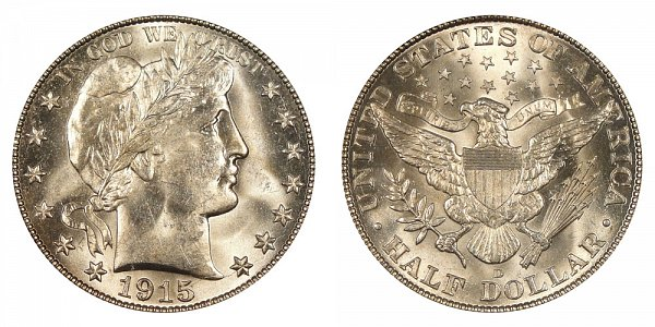 1915 D Barber Silver Half Dollar