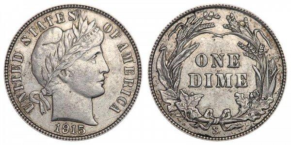 1915 S Silver Barber Dime
