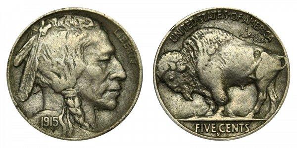 1915 S Indian Head Buffalo Nickel