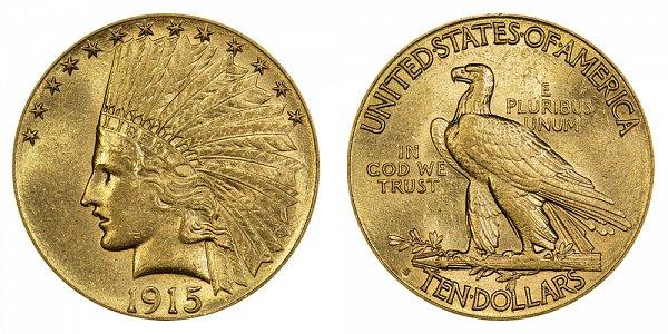 1915 S Indian Head $10 Gold Eagle - Ten Dollars