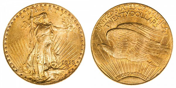 1915 S Saint Gaudens $20 Gold Double Eagle - Twenty Dollars