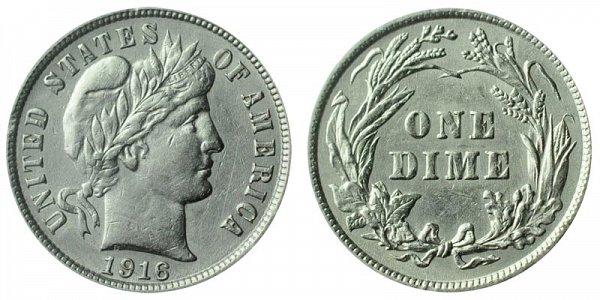 1916 Silver Barber Dime