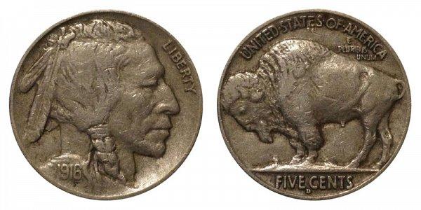1916 D Indian Head Buffalo Nickel