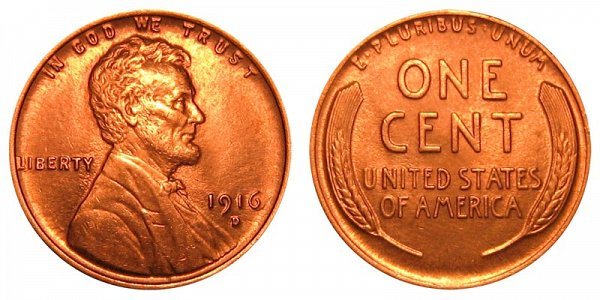 1916 D Lincoln Wheat Cent Penny