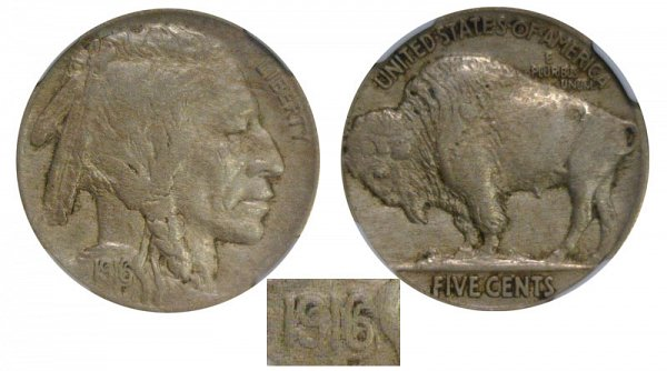 1916 Doubled Die Indian Head Buffalo Nickel